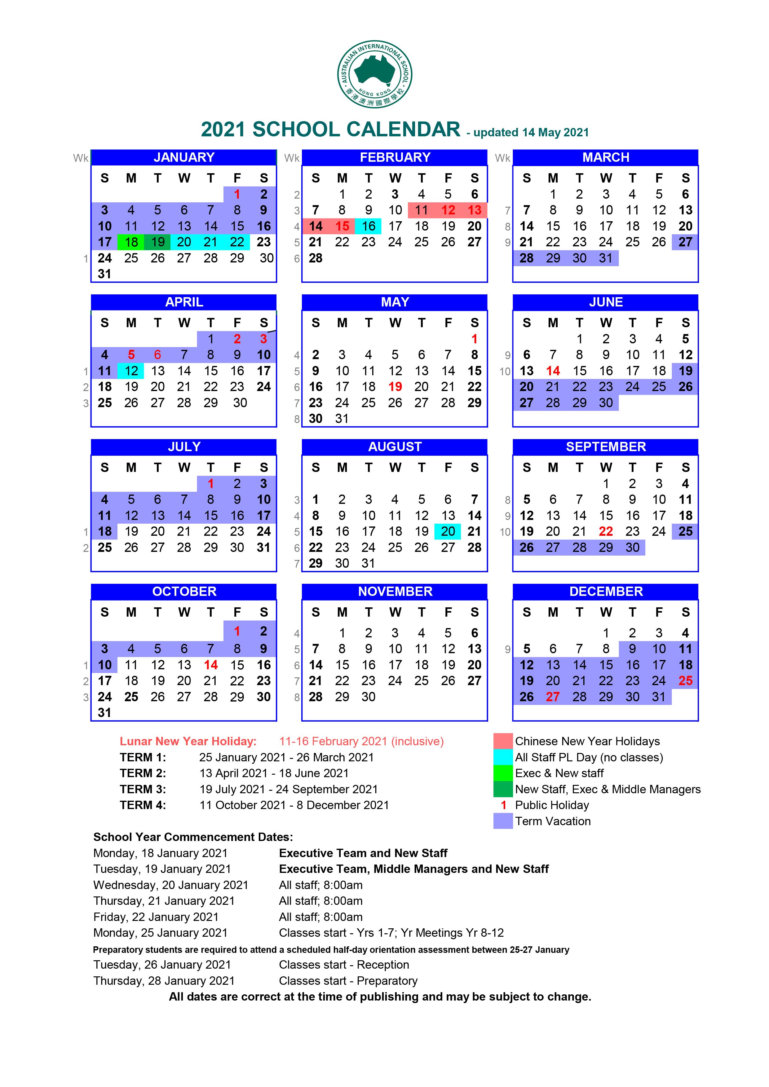 Calendars And Key Dates Australian International School Hong Kong