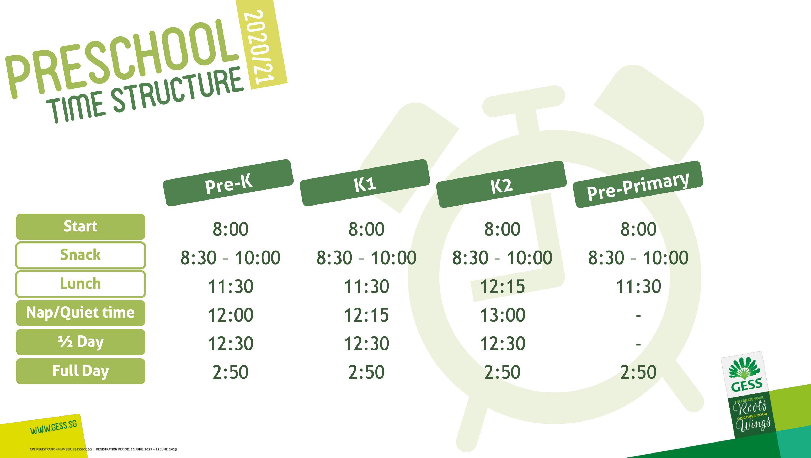Stundenplan Vorschulischer Bereich