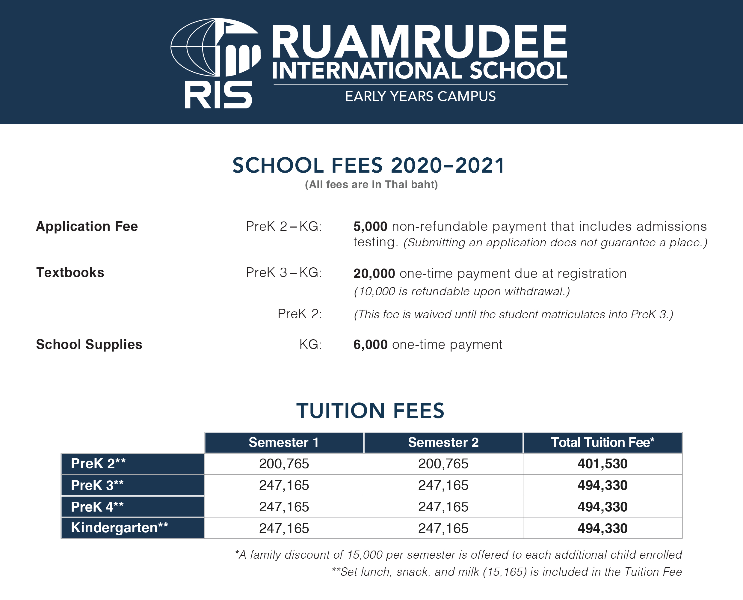 Early years tuition Fee